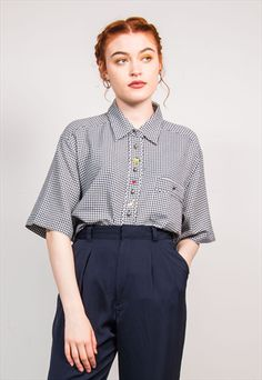 90'S VINTAGE GINGHAM PATTERN EMBROIDERED DETAIL SHIRT