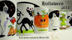 Halloween hand painted mugs! Find more on https://www.facebook.com/MartinArt.Ro