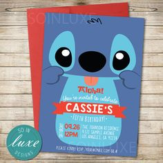 Stitch Birthday Party Invitation lilo & stitch themed by SoInLuxe