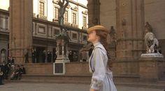 Lucy admires the sculptures at the Loggia dei Lanzi, Piazza della Signoria, Florence, Italy