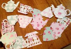 This beautiful teacup/teapot banner is created and strung together with light pink ribbon! Use it for your tea party themed wedding shower, childs