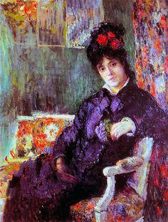 Portrait de Camille au bouquet de violettes (C Monet - W 436),1877.