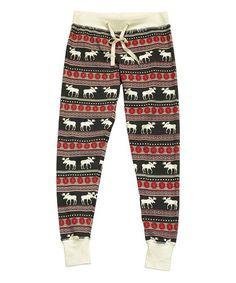 Lazy One Red   Black Moose Fair Isle Pajama Leggings - Women 8dd89a3e2