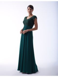 Long chiffon dress with lace bodice and cap petal sleeves. Zipper back. Fabric(s):Lace/Chiffon Color Available:All Current Lace 77046 Colors / All Current Chiffon Colors Size:0 to 28