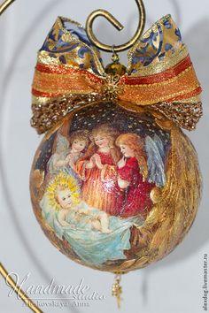 """Купить Новогодний шар - """"Merry Christmas!"""" Продан! - золотой, Новый Год, новый год 2015, рождество"""