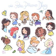 chibi disney princesses by david gilson Kawaii Disney, Chibi Disney, Art Disney, Disney Kunst, Disney And Dreamworks, Punk Disney, Disney Ideas, Cute Disney Drawings, Disney Princess Drawings