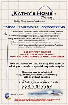 Kathy's Home Cleaning Flyer                                                                                                                                                     More