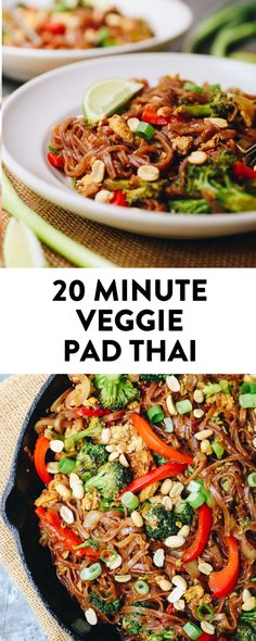 Get the taste of your favorite thai dish with a vegetarian twist in this easy veggie pad thai recipe. It's ready in just 20 minutes and will give you the extra dose of veggies you need for a filling and flavorful dinner recipe. #veggiepadthai #20minutemeal #vegetarian