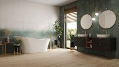 Duża łazienka glamour z oknem - Domni.pl Bathtub, Tapestry, Bathroom, Home Decor, Standing Bath, Hanging Tapestry, Washroom, Bathtubs, Tapestries