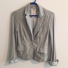 Anthropologie Natty Blazer by Allihop Chic and trendy blazer by Allihop from Anthropologie. Unique with pinstripes and beautiful floral cuffs details. In excellent condition. Anthropologie Jackets & Coats Blazers