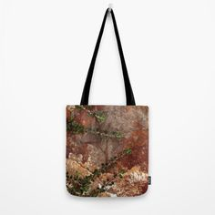 Rocks and Leaves Tote  - Grocery Bag - Beach Bag - Book Bag - Tote Bag - Nature Photo Tote - Brown Tote Bag - Made to Order (36.00 USD) by ShelleysCrochetOle
