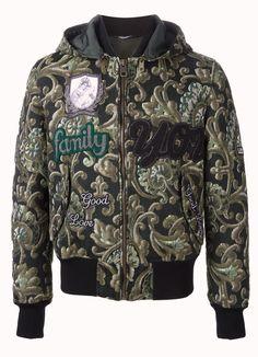 Dolce & Gabbana Emroidered Amore Baroque Family Jacquard Men's Bomber Jacket