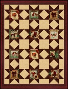 IN THE SADDLE COWBOY HORSES Pre Cut Quilt Block Kit
