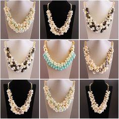 XXL Kette Statement-Kette Kunst-Perlen-Halskette Collier Blogger Shamballa