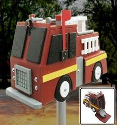 Fire fighter engine unique truck FIRETRUCK MAILBOX steel wood