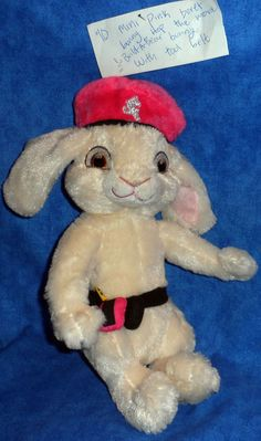 """Build A Bear Mini 10"""" Pink Beret Bunny Hop the Movie & Tool Belt 2011 BABW SE11 #BuildaBear #AllOccasion"""