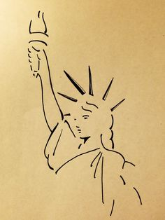 Simple Lines, Statue Liberty drawing by Amie Kennedy Nyc Drawing, New York Drawing, Person Drawing, Statue Of Liberty Drawing, Statue Of Liberty Tattoo, Greek Statues, Buddha Statues, Rangoli Simple, New York Tattoo