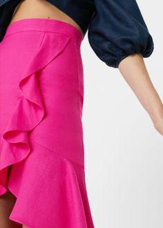 Linen mix Frill on the bottom Side slit hem Midi Skirt, Australia, Woman, Skirts, Summer, How To Wear, Tops, Dresses, Fashion