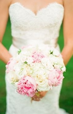 pink and ivory rose, peony and hydrangea bouquet by Arcadia Floral