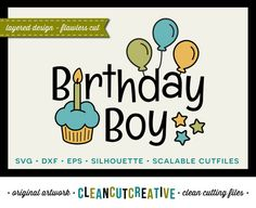 Birthday Boy Design - SVG Studio3 DXF EPS jpg png - cutfile and clip art - for Cricut and Silhouette Cameo - clean cutting digital files