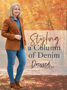 Styling a Column of Denim - wearing denim on denim - denim with denim - how to wear all denim - casual blazer outfits for women over 50 - fall outfit inspiration women over 50 Blazer Outfits Casual, Blazer Outfits For Women, Fall Winter Outfits, Autumn Winter Fashion, Winter Style, Denim Trends, Colourful Outfits, Fashion Over 50, Denim Fashion