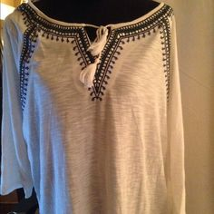 cute NWT Boho shirt from Macy's. Size 2x What a comfortable tunic from Style & Co. Says size 2x but def has enough room for a 3x. It's gorgeous.  A white and blue beauty with blue tassels. Perfect for spring or a summers eve. I can see this with a pair of jeans or shorts at the beach. Top it off with a nice hat. Style & Co Tops Tunics