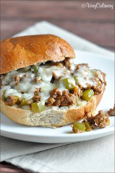 Sloppy Joes with a Philly Cheese Steak flair. Quick, easy, and delicious! Milk Recipes, Ground Beef, Hamburger Recipes, Beef Recipes, Cooking Recipes, Grilling Recipes, Delicious Sandwiches, Wrap Sandwiches, Sloppy Joe