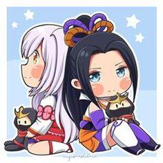 Chibi Kagura ❤ Hayabusa ❤ Hanabi by Miyusha Ashibara Mobile Legend Wallpaper, Hero Wallpaper, Kawaii Chibi, Cute Chibi, Chibi Couple, The Legend Of Heroes, Hanabi, Mobile Legends, Cute Cartoon Wallpapers