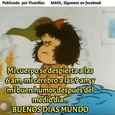 Buenos días shared by maría josé on we heart it Funny Signs, Funny Memes, Jokes, Mafalda Quotes, Hello Quotes, Happy Quotes, Quotes En Espanol, Travel Words, Good Morning Good Night