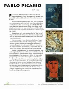 Middle School Art History Worksheets: Pablo Picasso Biography Worksheet