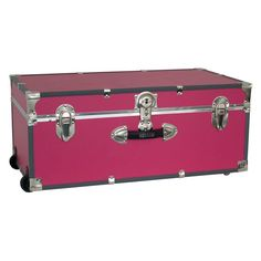 Locking Trunk with Wheels-Pink - 6113-22