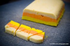 On the sight it looks like it is titled Candy Corn Fudge. Candy Corn Fudge recipe is below and on sight. The fudge probably looks the same as the dough when finished. Fall Treats, Holiday Treats, Halloween Treats, Halloween Cookies, Halloween Recipe, Halloween Fun, Halloween Parties, Halloween Foods, Halloween Birthday