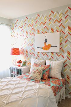 DIY Bedroom Makeover & Redo - Colorful Painted Pattern in Girls Room with Modern Herringbone Shuffle Wall Stencils from Royal Design Studio via theraggedwren