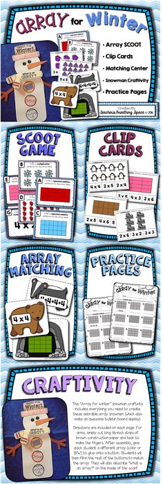 """""""Array"""" for Winter! This adorable  array math center set includes Array SCOOT, Array Clip Cards, Array Matching, Array Practice Pages and a darling Array Snowman Craftivity (makes an awesome Winter bulletin board display, as well!)."""