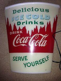 RARE 1960s Coca Cola Cup Light Up Sign Serve Yourself Coke...ma fille aimerait...