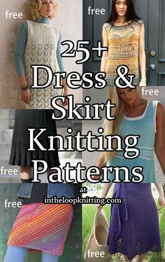 Knitting patterns for Dresses and Skirts. Most patterns are free.