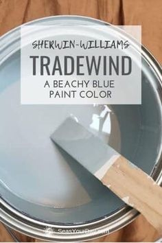 Sherwin-Williams Tradewind Paint Color - Seas Your Day - - Sherwin-Williams Tradewind Paint Color is among the most popular coastal paint colors preferred by interior designers. Coastal Paint Colors, Blue Paint Colors, Bedroom Paint Colors, Paint Colors For Home, House Colors, Gray Paint, Stain Colors, Beach Cottage Style, Beach House Decor