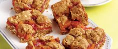 This crunchy fruit and oats layered bar is baked easily made using Gold Medal® whole wheat flour delicious anytime dessert.