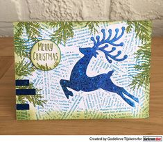 Card by Godelieve Tijskens using Darkroom Door Torn Text Texture Stamp and Christmas Reindeer Set Stencil with Thermoweb foil