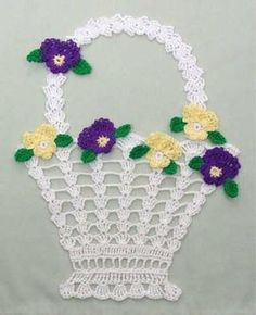 Original Designs By:Maggie Weldon Intermediate Skill   Materials: Size 10 Crochet Cotton Thread: Violet Doily             White (MC) - 63 yds (6 meters) Crochet Doily Patterns, Crochet Borders, Crochet Flowers, Crochet Edgings, Crochet Squares, Crochet Doilies, Crochet Motif, Crochet Stitches, Crochet Crafts