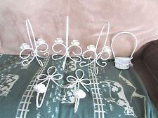 6 PC Vtg Homco Home Interiors White Twisted Wrought Iron Candle Votive Holders