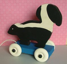 Wooden Toy  Skunk Pull Toy by GreenChickens on Etsy, $24.95