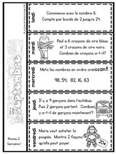 Le problème du jour:Second Grade French Math Word Problem of the day (September) Math Words, Thing 1, Math Word Problems, Second Grade, Grade 2, School Themes, Worksheets, Back To School, Teacher