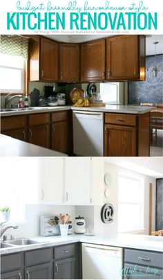 fixer upper inspired kitchen updates using paint! and this faux shiplap backspl… fixer upper inspired kitchen updates using paint! and this faux shiplap backsplash is. New Kitchen Cabinets, Kitchen Redo, Kitchen Ideas, Kitchen Paint, Kitchen Makeovers, Dark Cabinets, Upper Cabinets, Kitchen Backsplash, Kitchen White