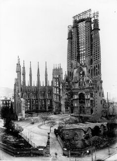 Sagrada Familia en 1909. Barcelona, España