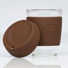 JOCO Brown 12oz Glass Reusable Coffee Cup - hardtofind.