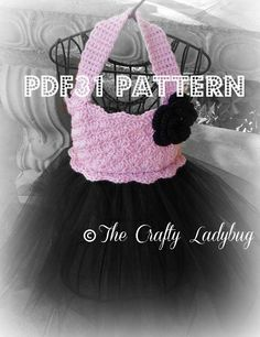 Make every little girl's fantasy come true with this elegant and classy crochet tutu bodice and tulle skirt. You crochet the bodice, then add tulle for the skirt. Perfect for dance recitals, weddings, or photography shoots. Crochet Tutu, Crochet Bebe, Crochet Girls, Crochet For Kids, Knit Crochet, Crochet Dresses, Tutu Dresses, Ravelry Crochet, Crochet Children