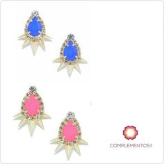 Blue Royal & Pink Barbie earrings  Para más info contactanos : 809 853 3250 / 809 405 5555 Pagos a través de Paypal  Delivery  Envoltura disponible   #available #earrings #pink #royal #blue #gold #chic #accesories #jewelry #chic #trendy #delicate #precious #glam #gorgeous #unique #fancy #byou #becomplete #pretty #complementosjewelry #complementosrd