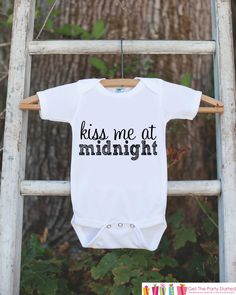 Kiss Me at Midnight Outfit for Baby Girl or Baby Boy - Happy New Year Onepiece - Novelty New Years Eve Bodysuit - Childs 1st New Year Outfit
