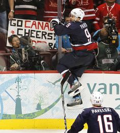 I wish my jumps were this high! (Zach Parise, one of my favorite hockey players, at the Vancouver Olympics)
